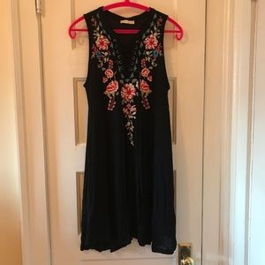 Altar'd State Knit Embroidered Lace Up Dress